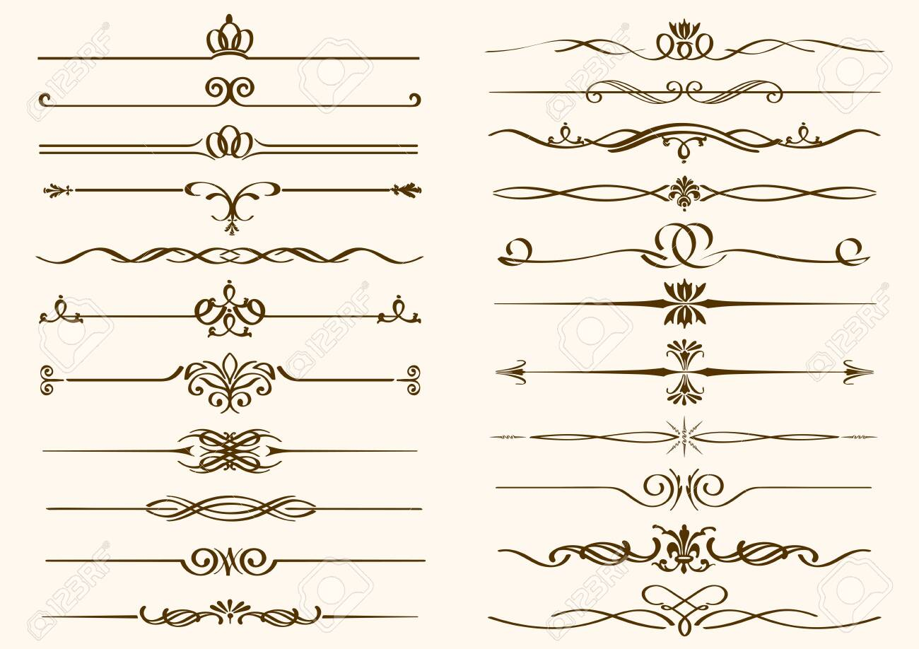 Set of vintage borders isolated on a plain background. Vector illustration. - 144103158