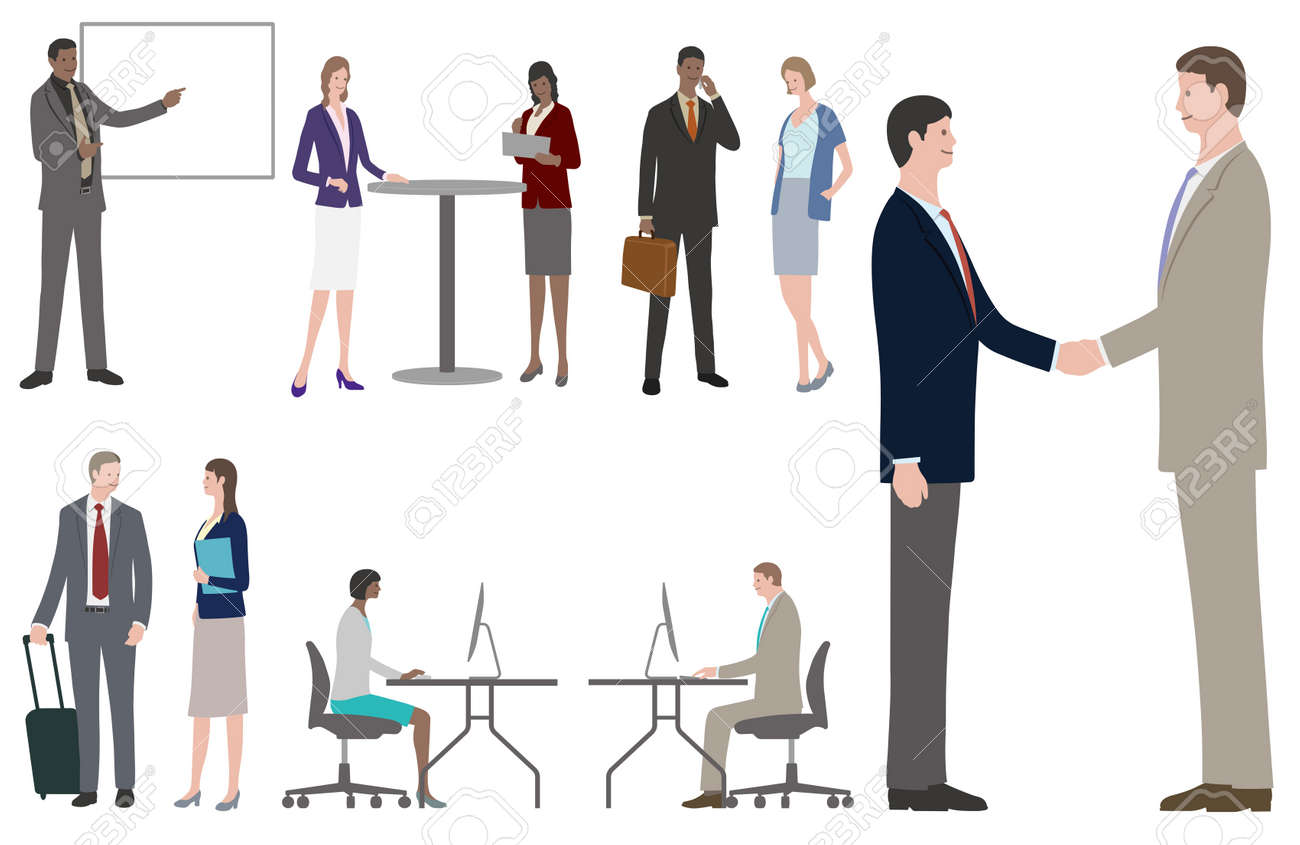 Set Of Business People In Fat Style. Easy To Use Vector Illustrations Isolated On A White Background. - 167652613
