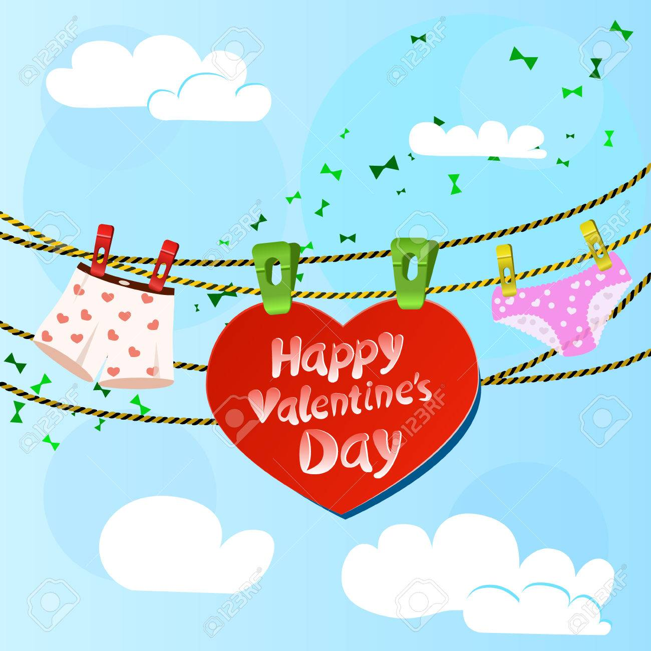 Card On Valentine Day With Heart And Women S And Men S Briefs