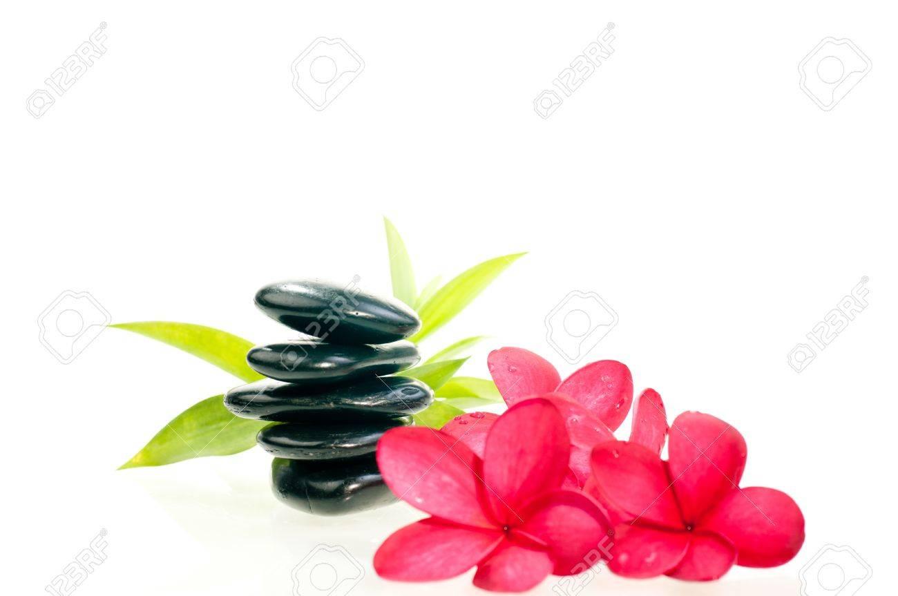 Banque dimages , Pierre noire zen avec des fleurs rouges avec le fond en bambou