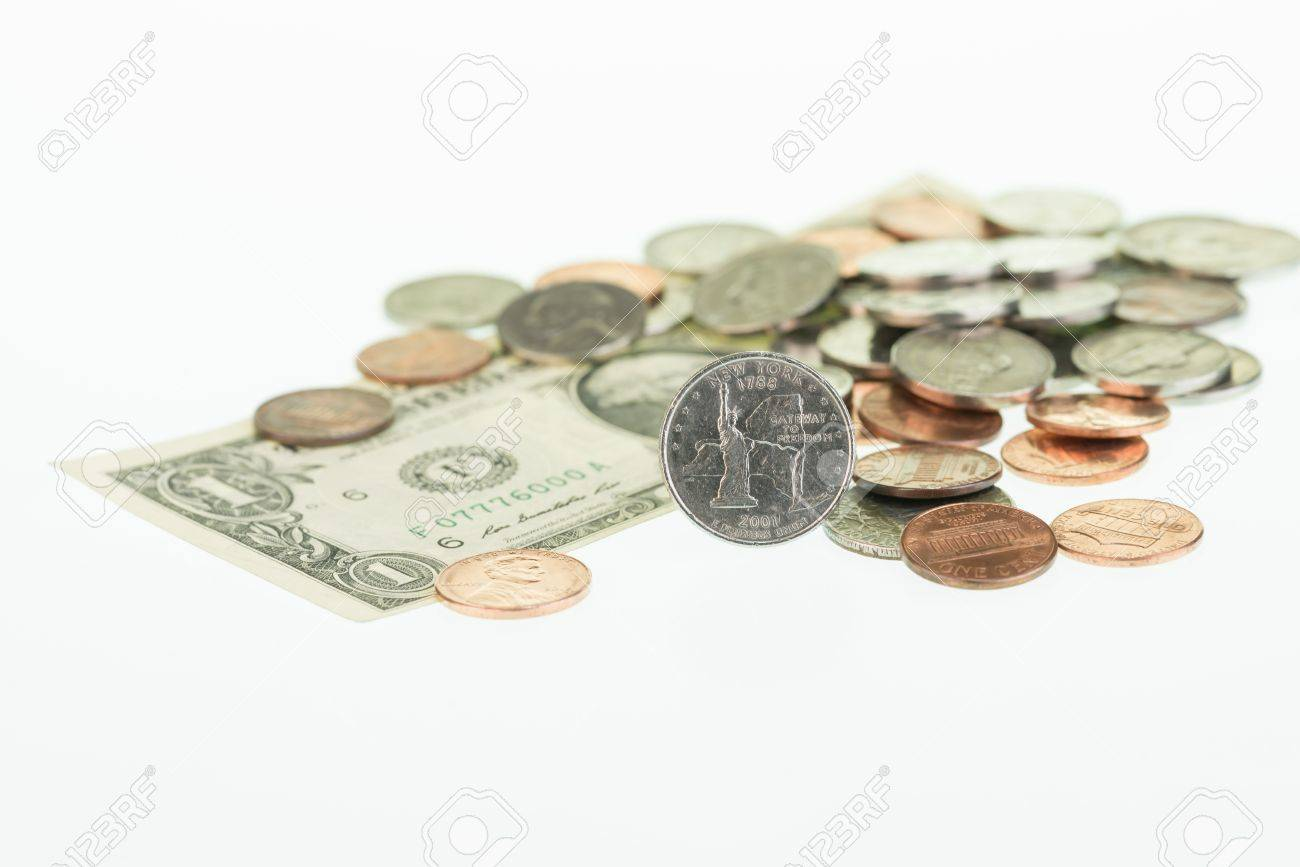 New York State Quarter with dollar and coins close up Stock Photo - 20010266