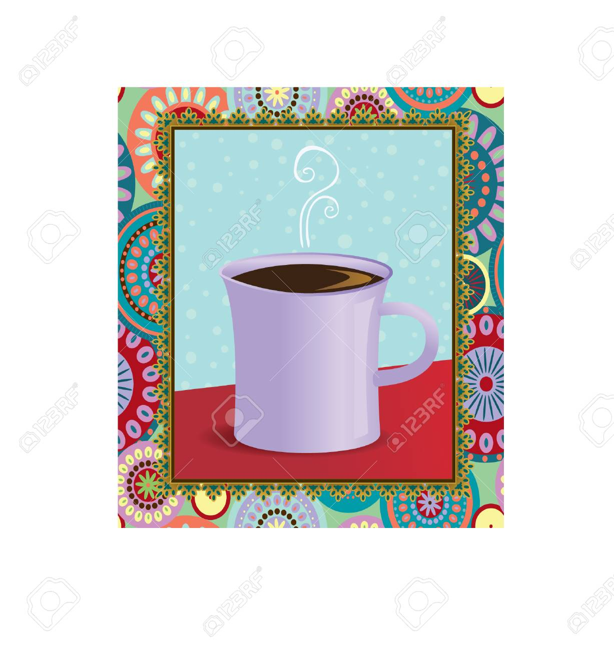 A hot mug of coffee in a funky frame Stock Vector - 5933243