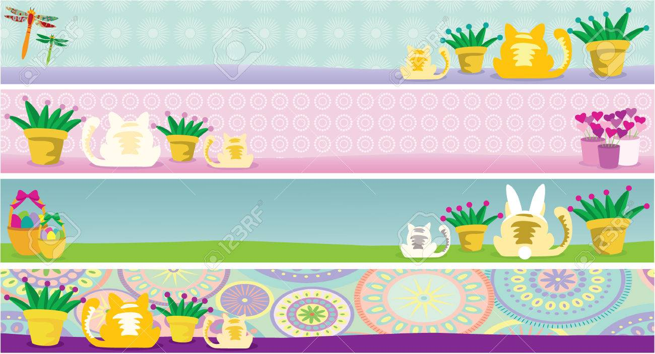 Illustration of cat and holiday banners featuring February, April, May and June. Elements are grouped nicely to be rearranged. Stock Vector - 6061854