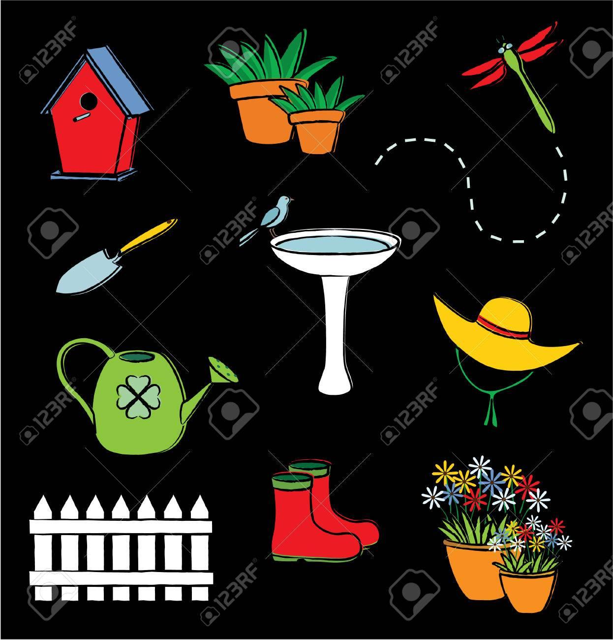 Illustration of garden icons Stock Vector - 6692147