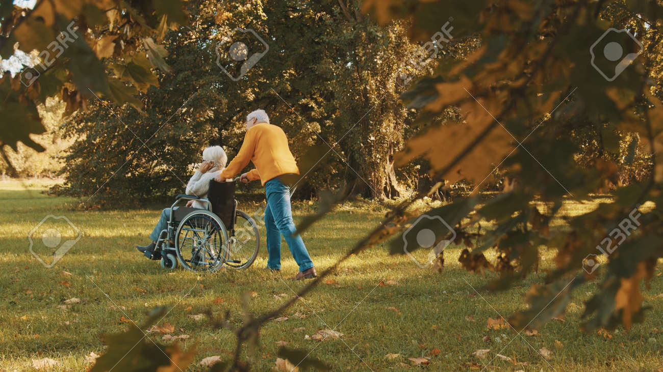 Old couple having romantic autumn day in forest. Hugging tree and smiling. High quality photo - 157403345