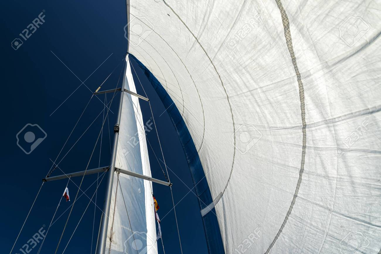 sails of a sailing yacht in the wind sailing on the ocean - 135156972