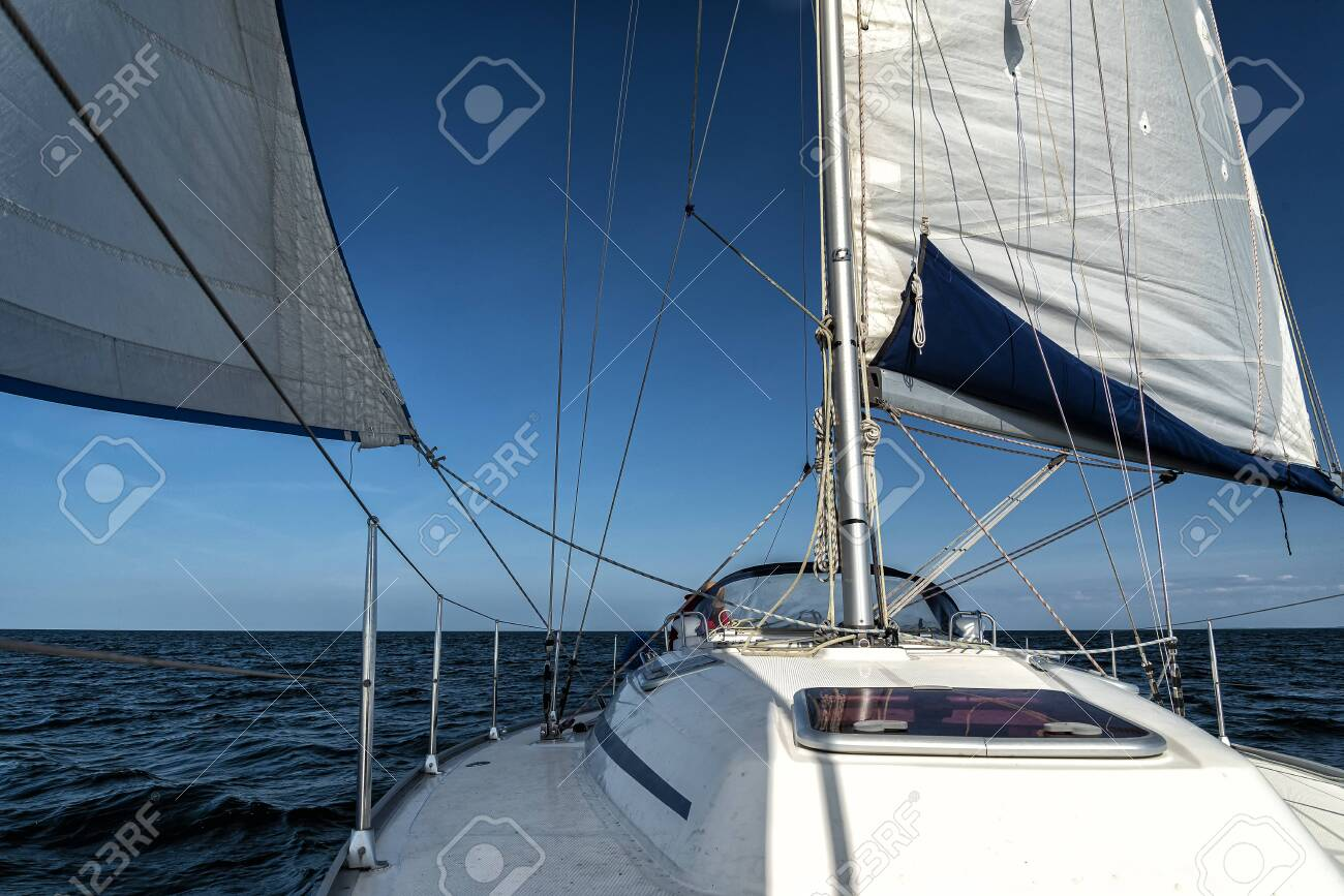 sailing on a sailing yacht on the ocean - 136681124