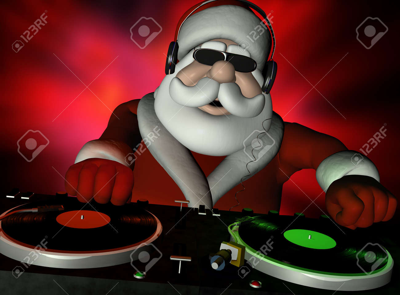 Big DJ SC is in Da House and mixing up some Christmas cheer.  Turntables with vinyl albums. Stock Photo - 5385314