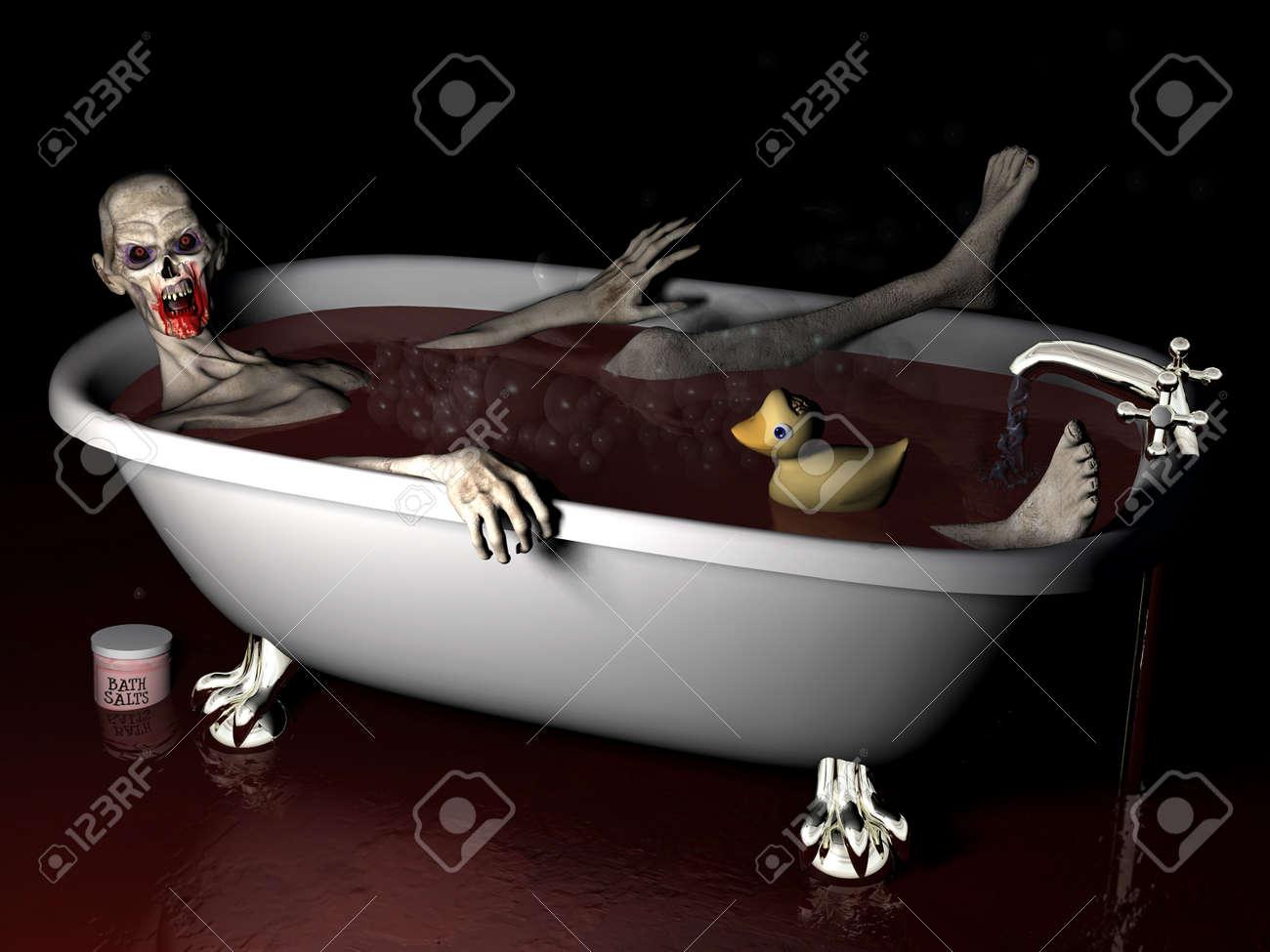 archivio fotografico bagno di sale zombie un zombie non morti di prendere un bagno di sale bagno completo con paperella di gomma con il cervello che