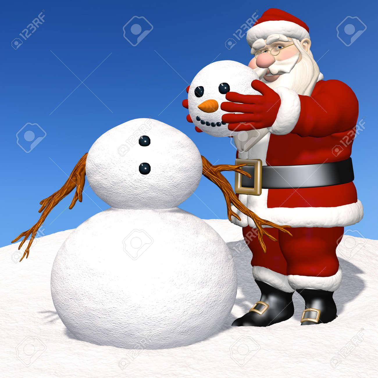 santa making a snowman santa claus putting the head on a snowman stock photo 16007281 - Snowman Santa
