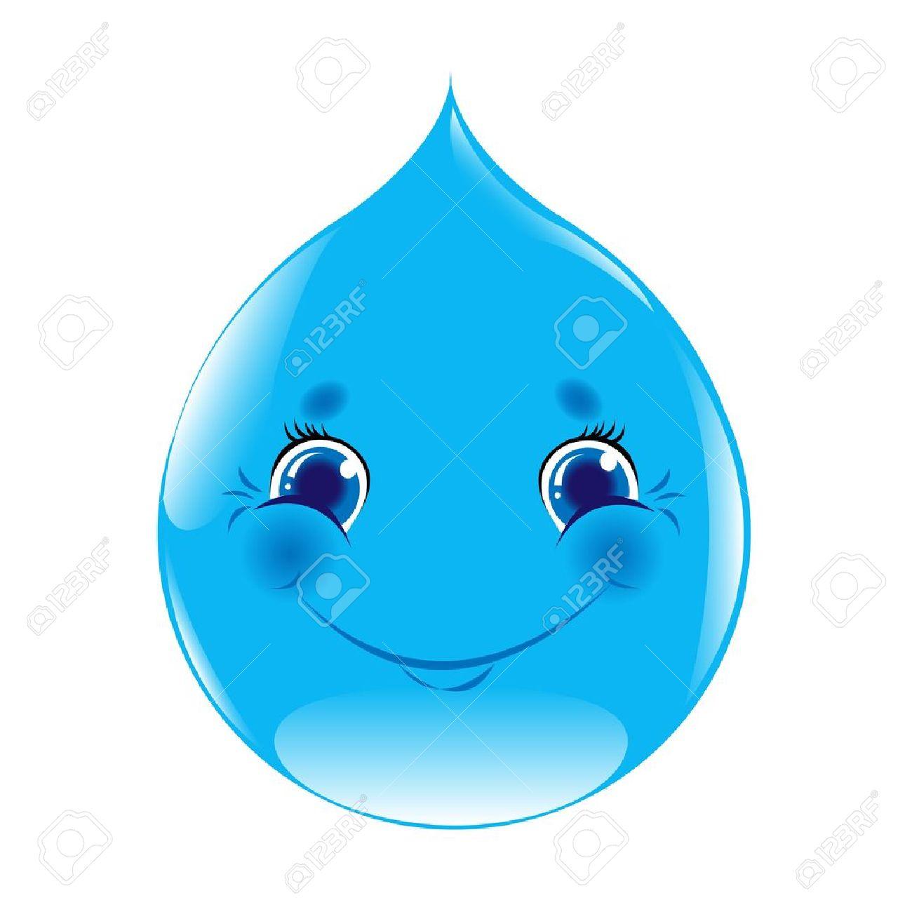 Gota De Agua De Dibujos Animados Aislado En Fondo Blanco