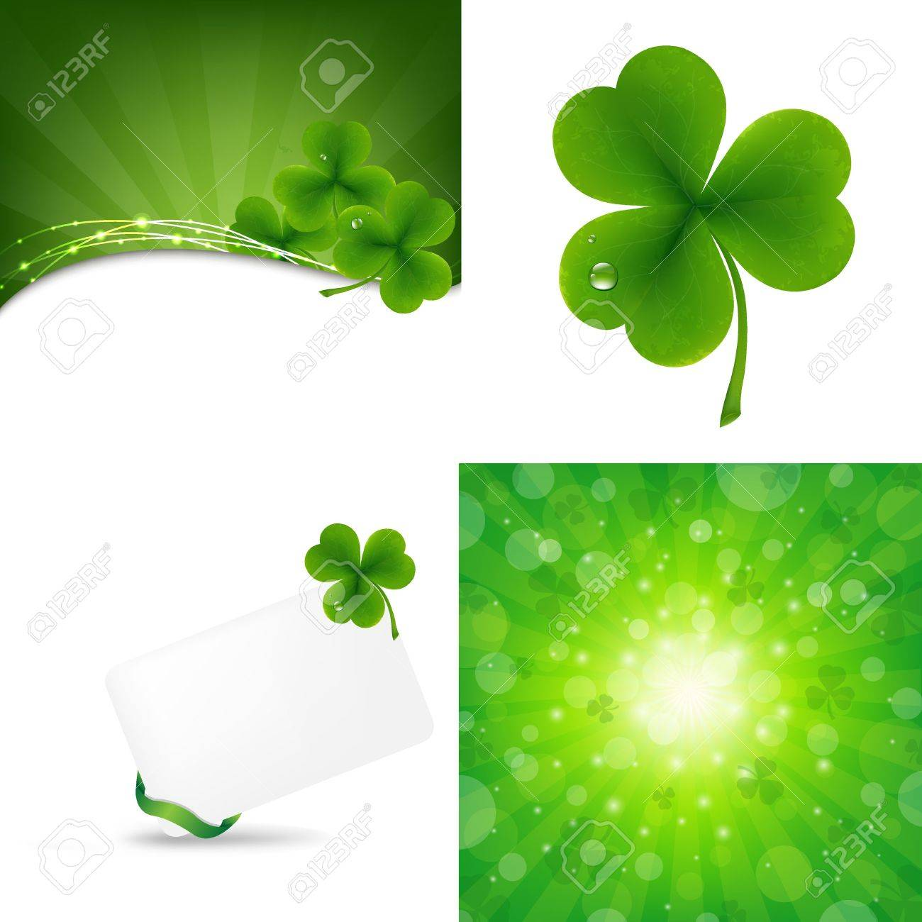 3 Green Background With Clover, Vector Illustration Stock Vector - 14442144