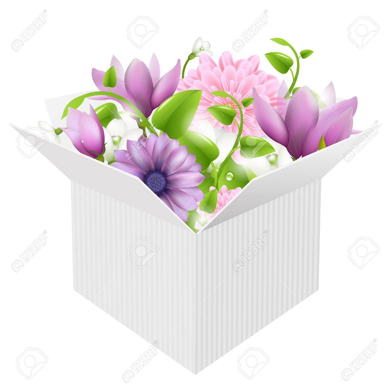 White Box With Spring Flowers, Isolated On White Background, Vector Illustration Stock Vector - 14442150
