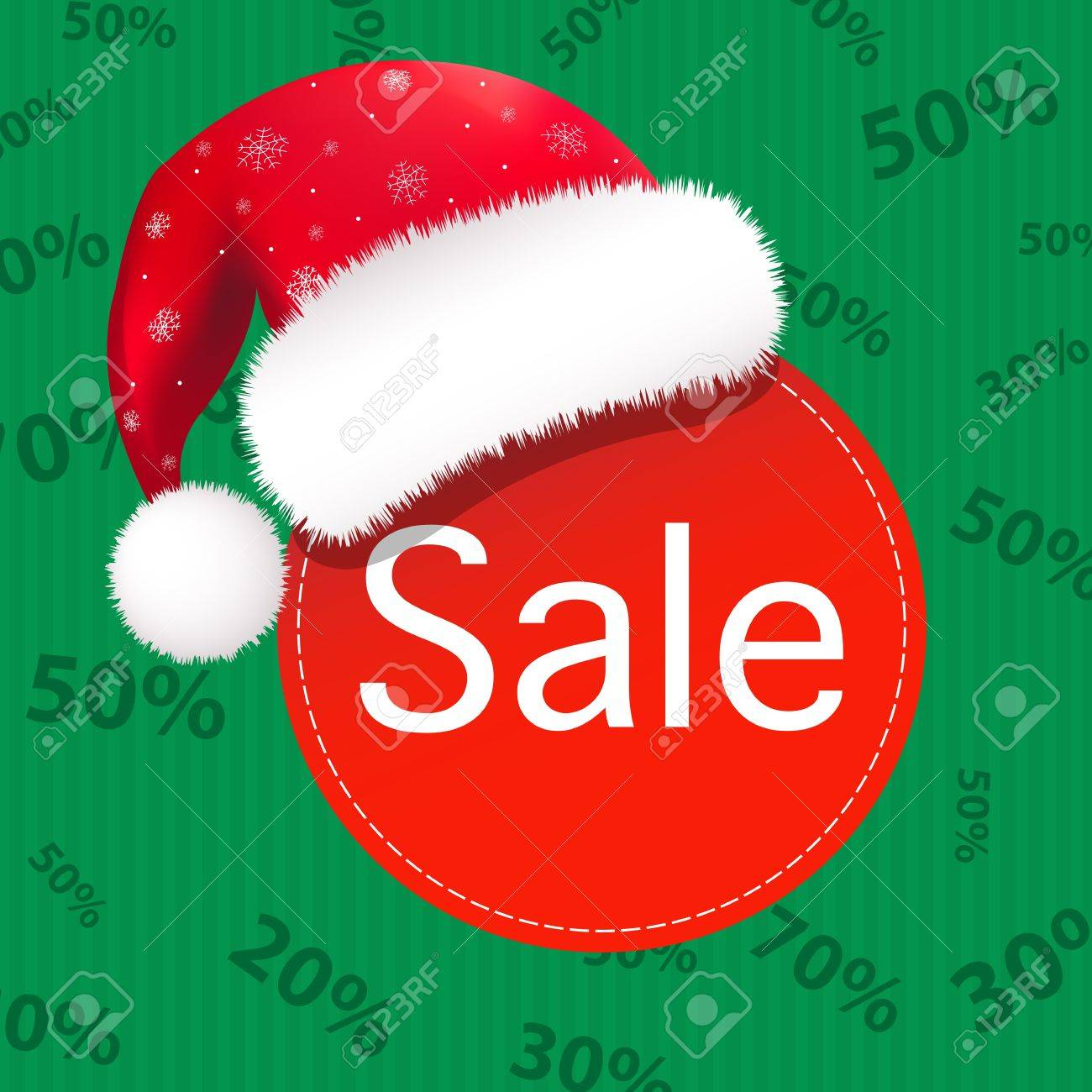 Christmas Sale Poster, Isolated On Green Background Stock Vector - 15153098