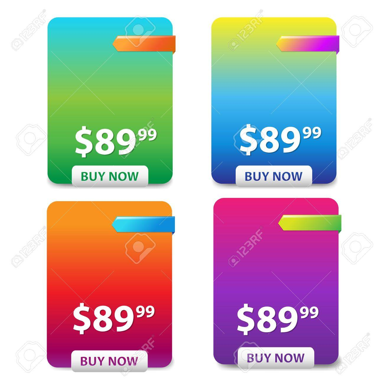 4 Color Price Table, Isolated On White Background, Vector Illustration Stock Vector - 17910681