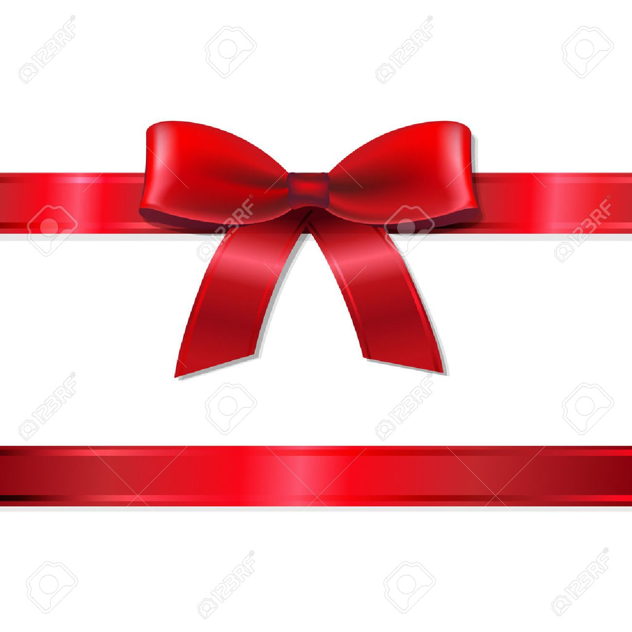 Red Ribbon And Bow With Gradient Mesh, Vector Illustration - 33225256