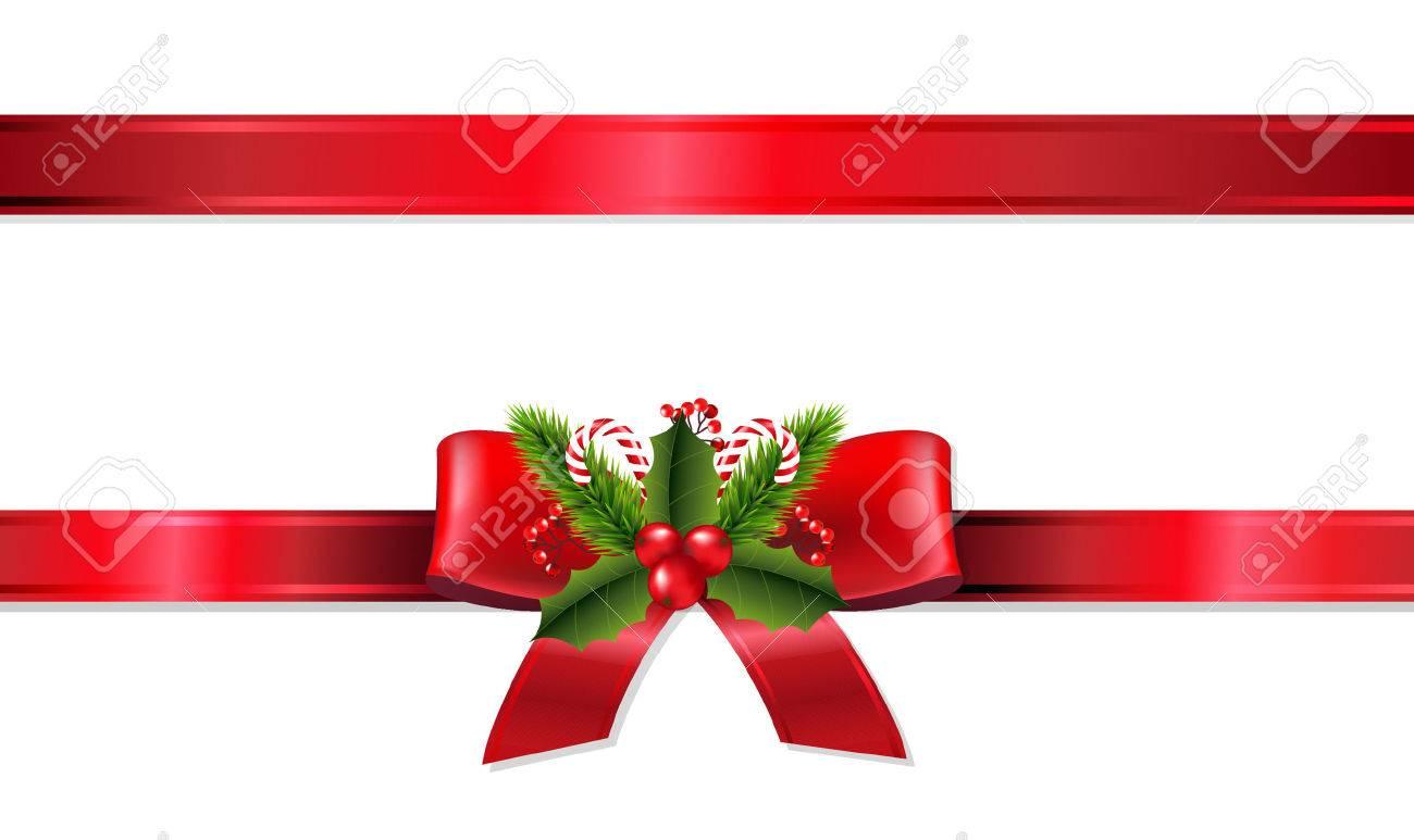 Christmas Ribbon.Christmas Ribbon With Gradient Mesh Vector Illustration