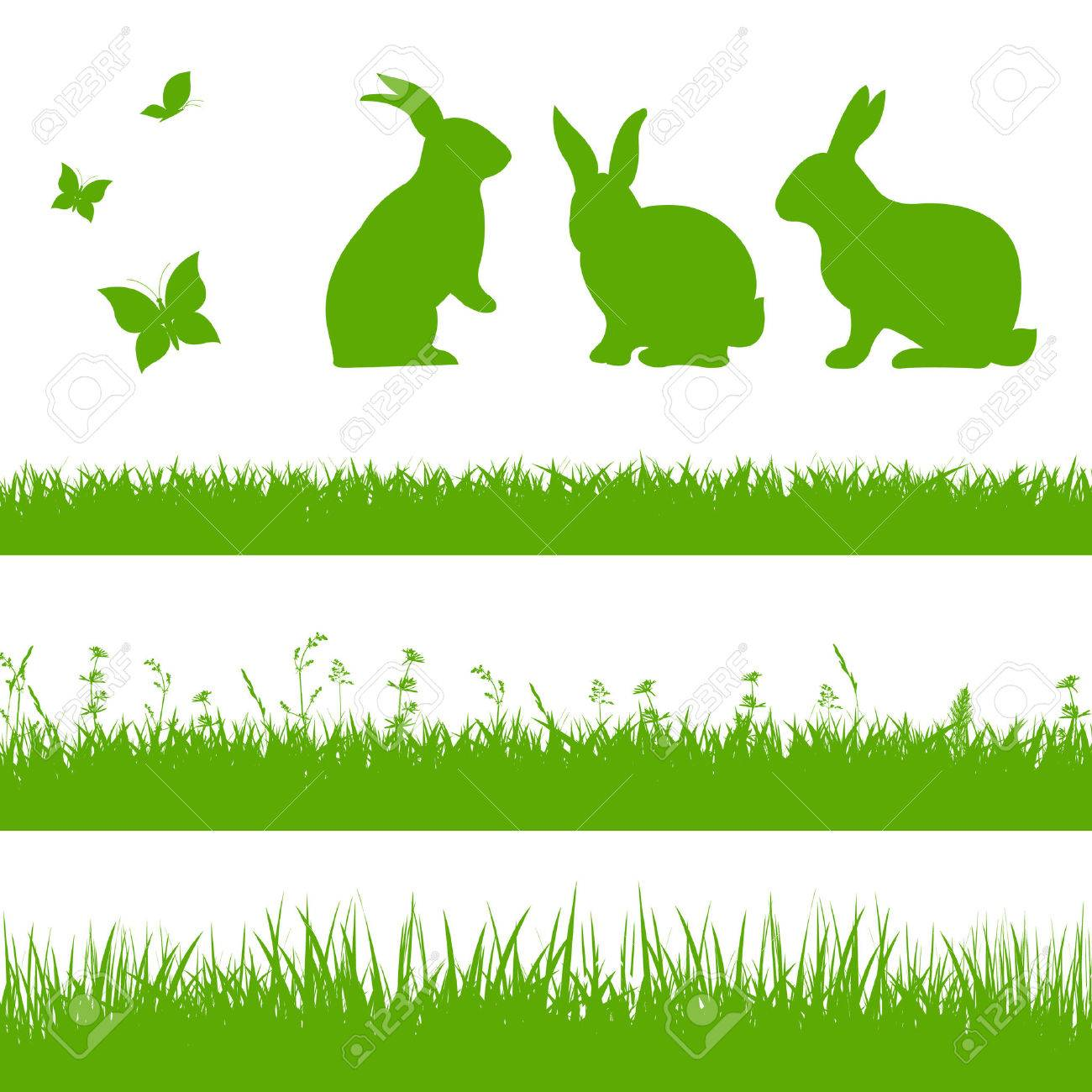Spring Grass Border With Rabbits - 53039140