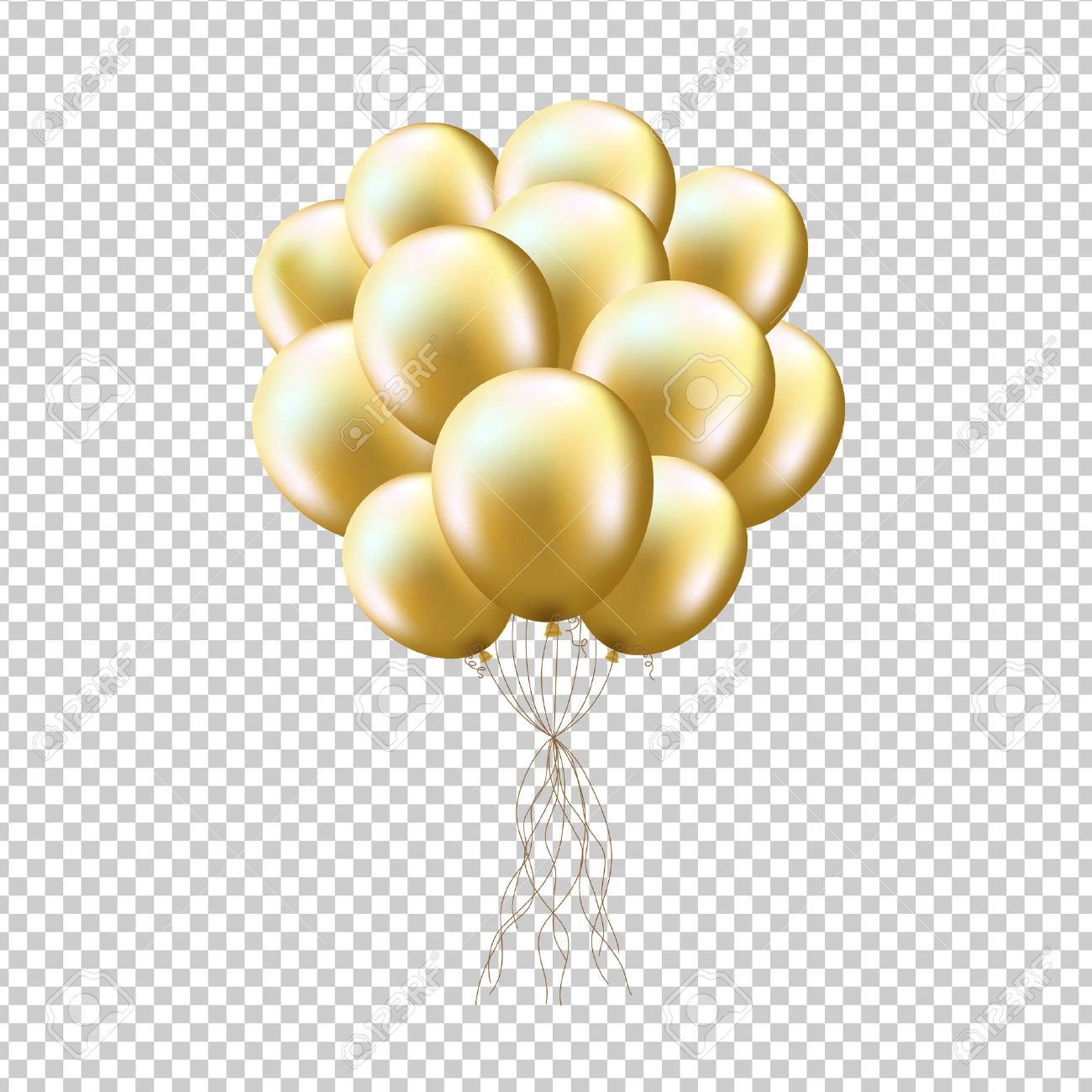 Golden Balloons Sheaf, Isolated on Transparent Background, With Gradient Mesh, Vector Illustration - 55086618