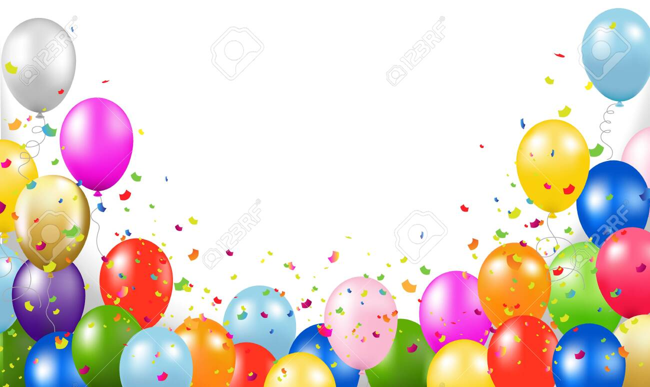 Happy Birthday Card With Balloons Transparent Background With Gradient Mesh, Vector Illustration - 151098051