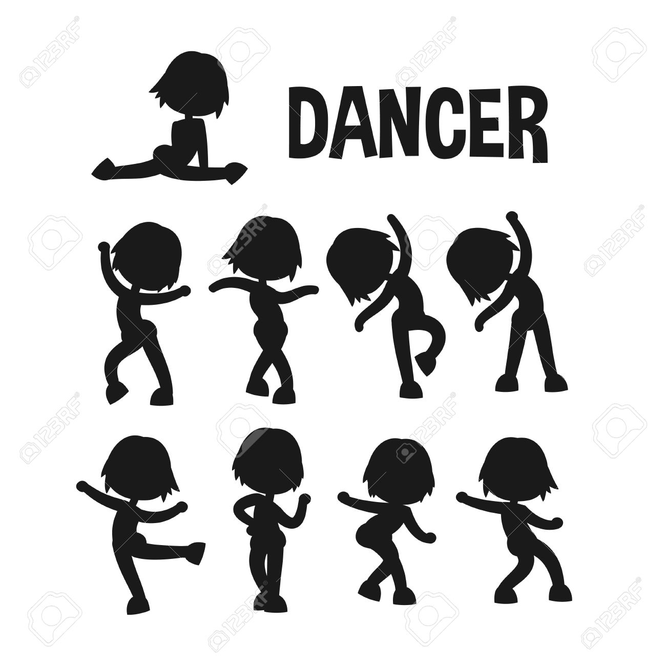 Different Poses Dancer Silhouette Set Cartoon Flat Kid Style Character Vector Illustration