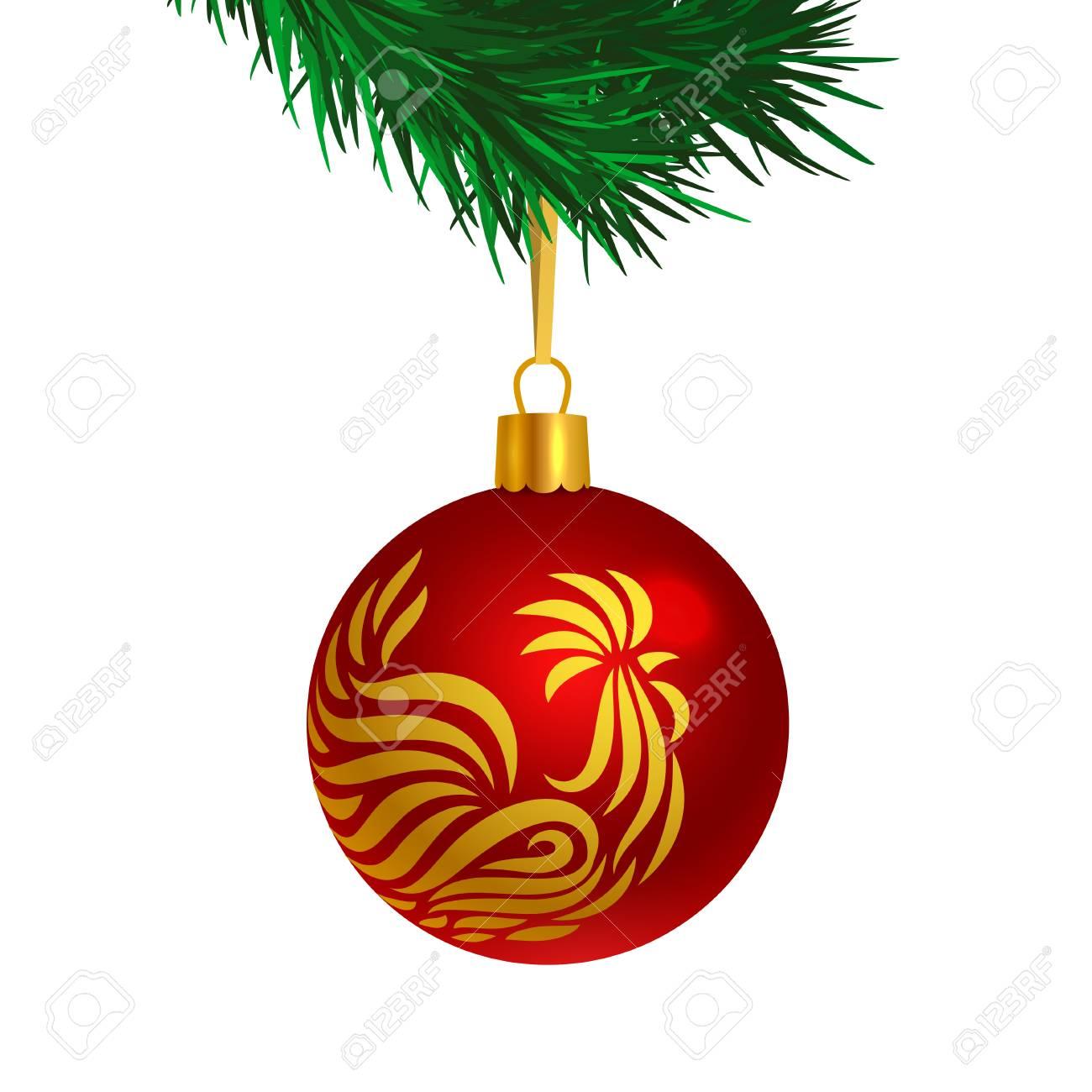 Boule De Sapin De Noël De Couleur Rouge Avec Logo Coq Sur Les