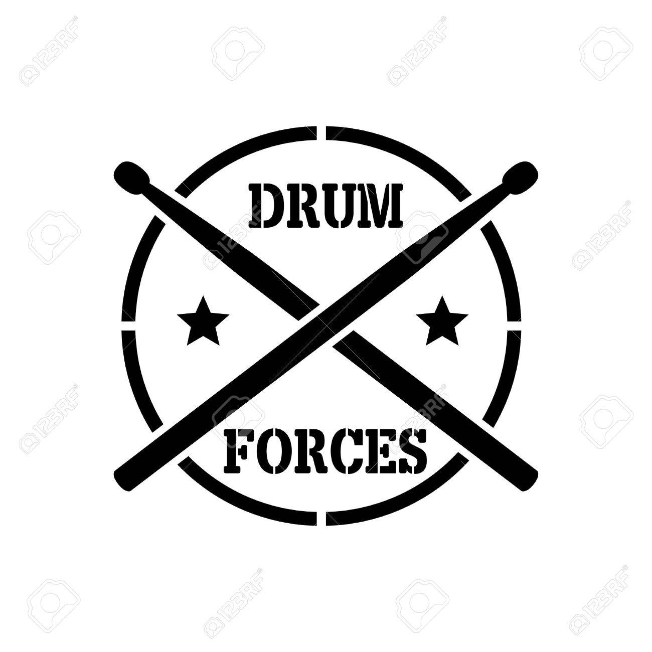 crosed Drum sticks with word drummer forces, vector stencil