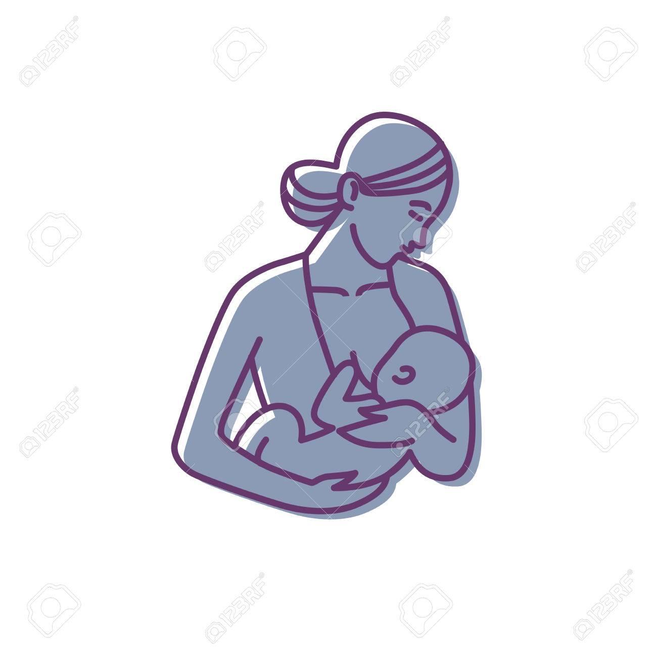 breastfeeding, mother and baby logo. vector motherhood icon - 84812298