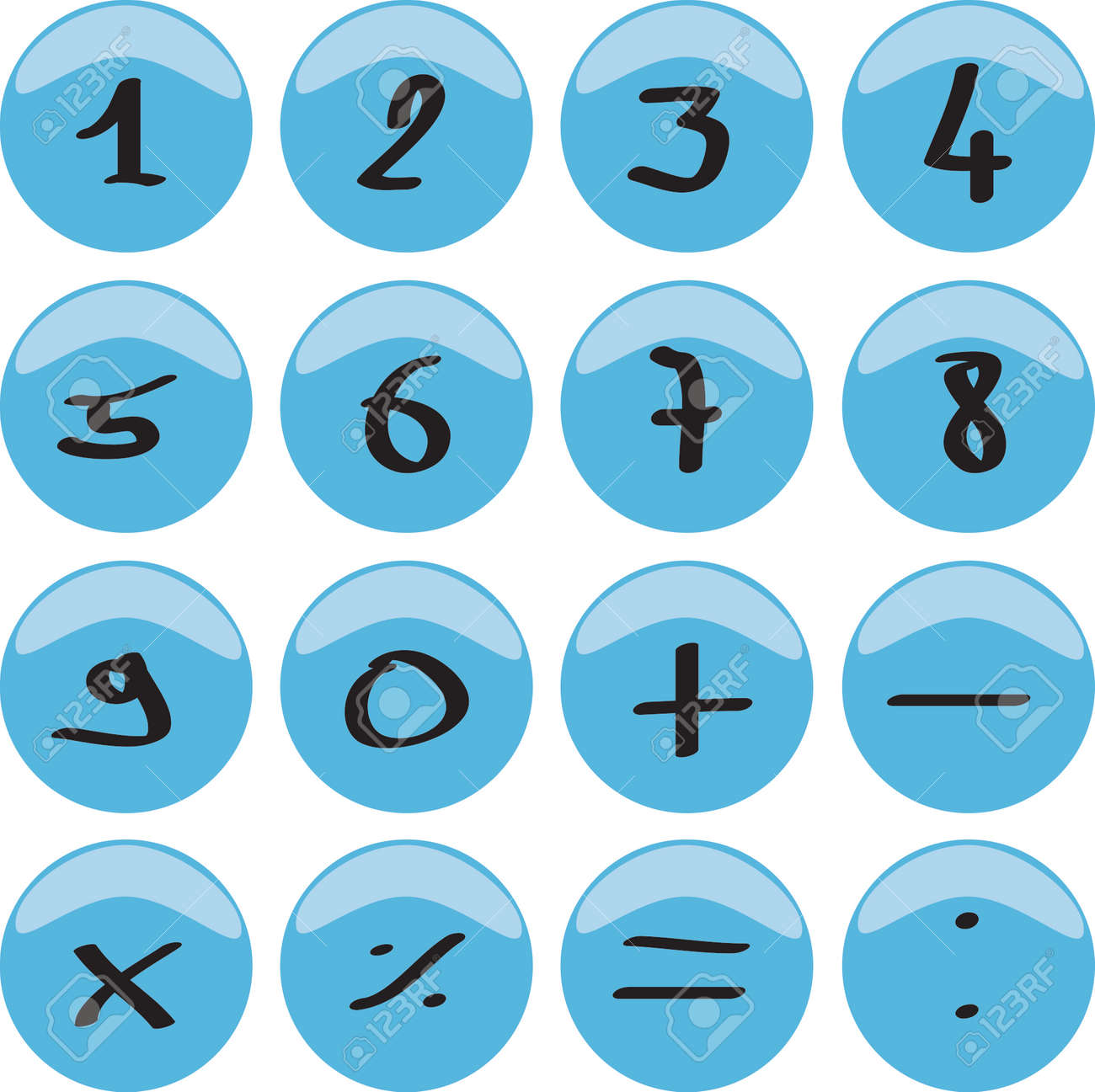 Web button with numbers 0 to 9 and the mathematical signs Stock Photo - 1504297