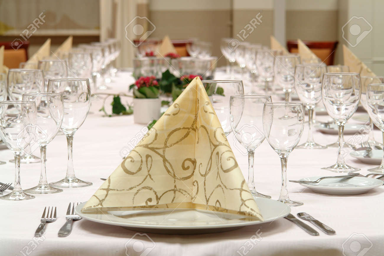 large dinner table set up for a lot of people Stock Photo - 1777526