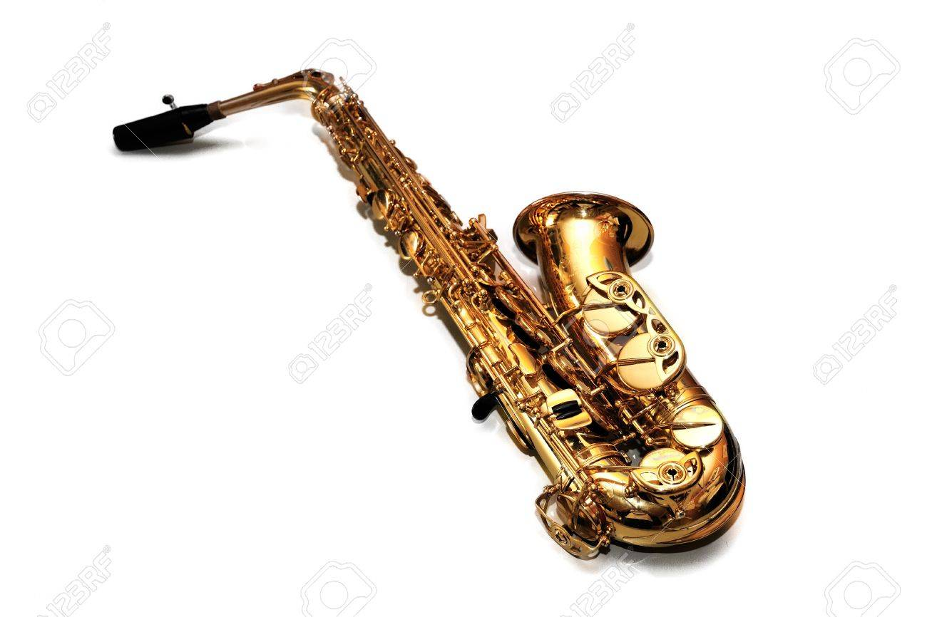 Saxophone on white background Stock Photo - 10063299
