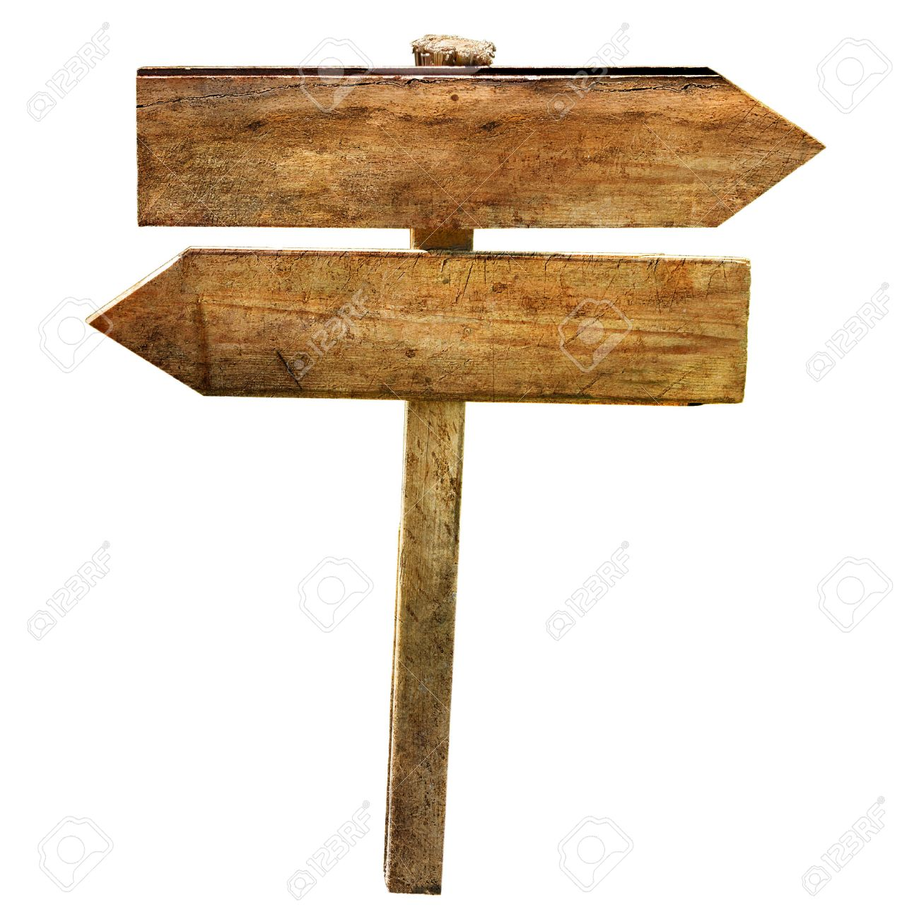 Two Blank Wooden Directional Signs Arrows Crossroad Isolated
