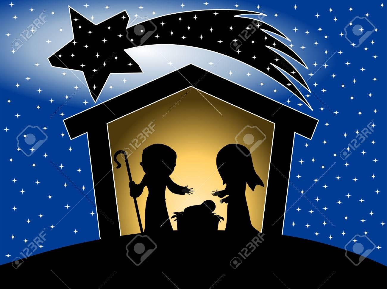 Silhouette Of Christmas Nativity Scene Against Starry Sky Background Stock Vector