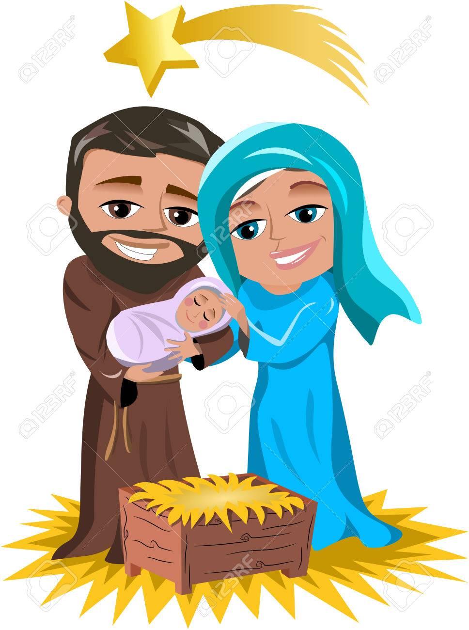 Immagini Di Natale Con Sacra Famiglia.Presepe Di Natale Con Sacra Famiglia Joseph Piccolo Gesu E Maria Isolato