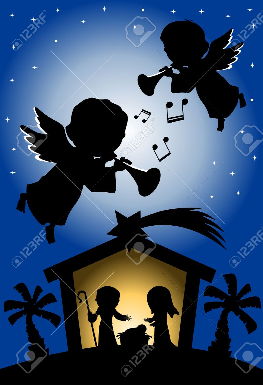 Silhouette Of Christmas Nativity Scene Against Starry Sky Background Where Two Angels Are Playing Trumpet Stock
