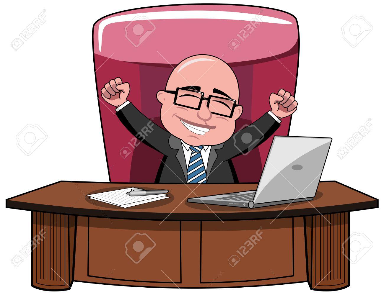 Gluckliche Kahlen Cartoon Geschaftsmann Chef Sitzt Am Schreibtisch Und Frohlockend Isoliert Lizenzfrei Nutzbare Vektorgrafiken Clip Arts Illustrationen Image 44988278