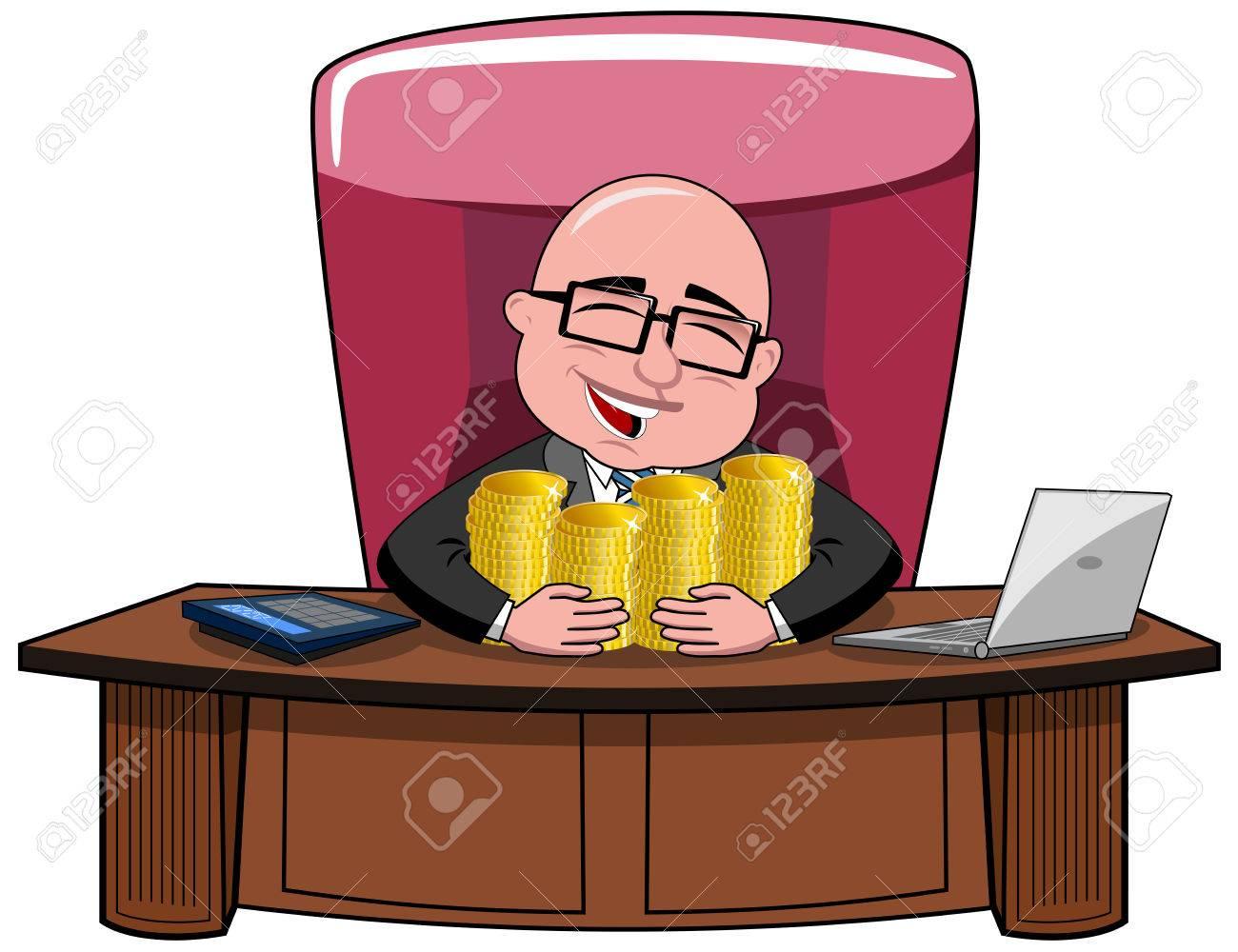 Happy bald cartoon businessman boss sitting at desk hugging money isolated - 44988281