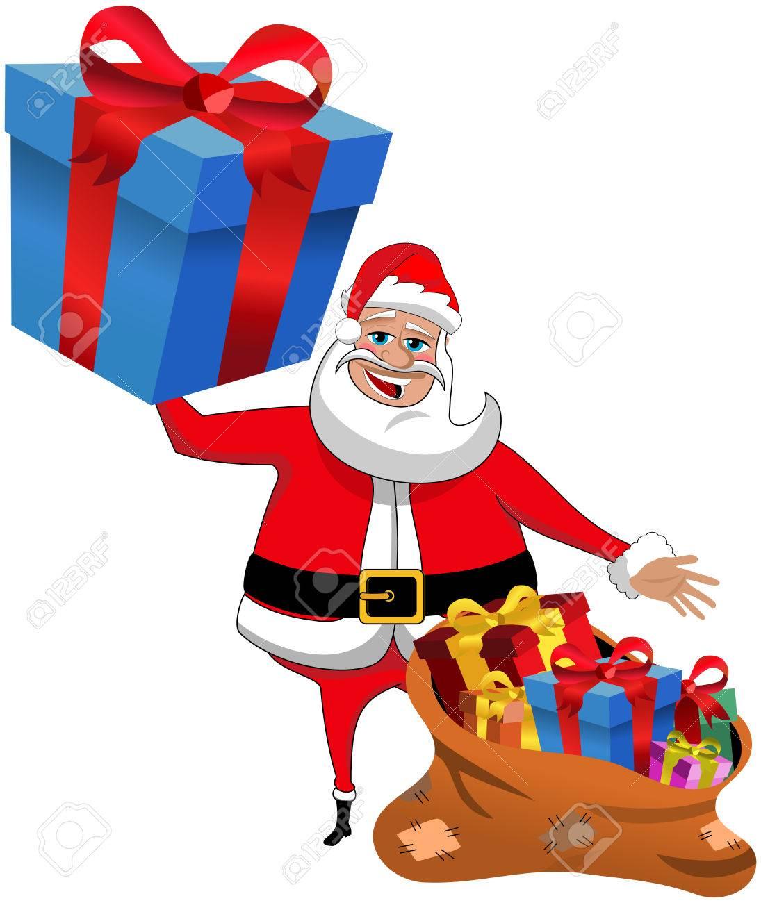 Santa Claus Dibujos Animados La Celebración De Regalo Grande