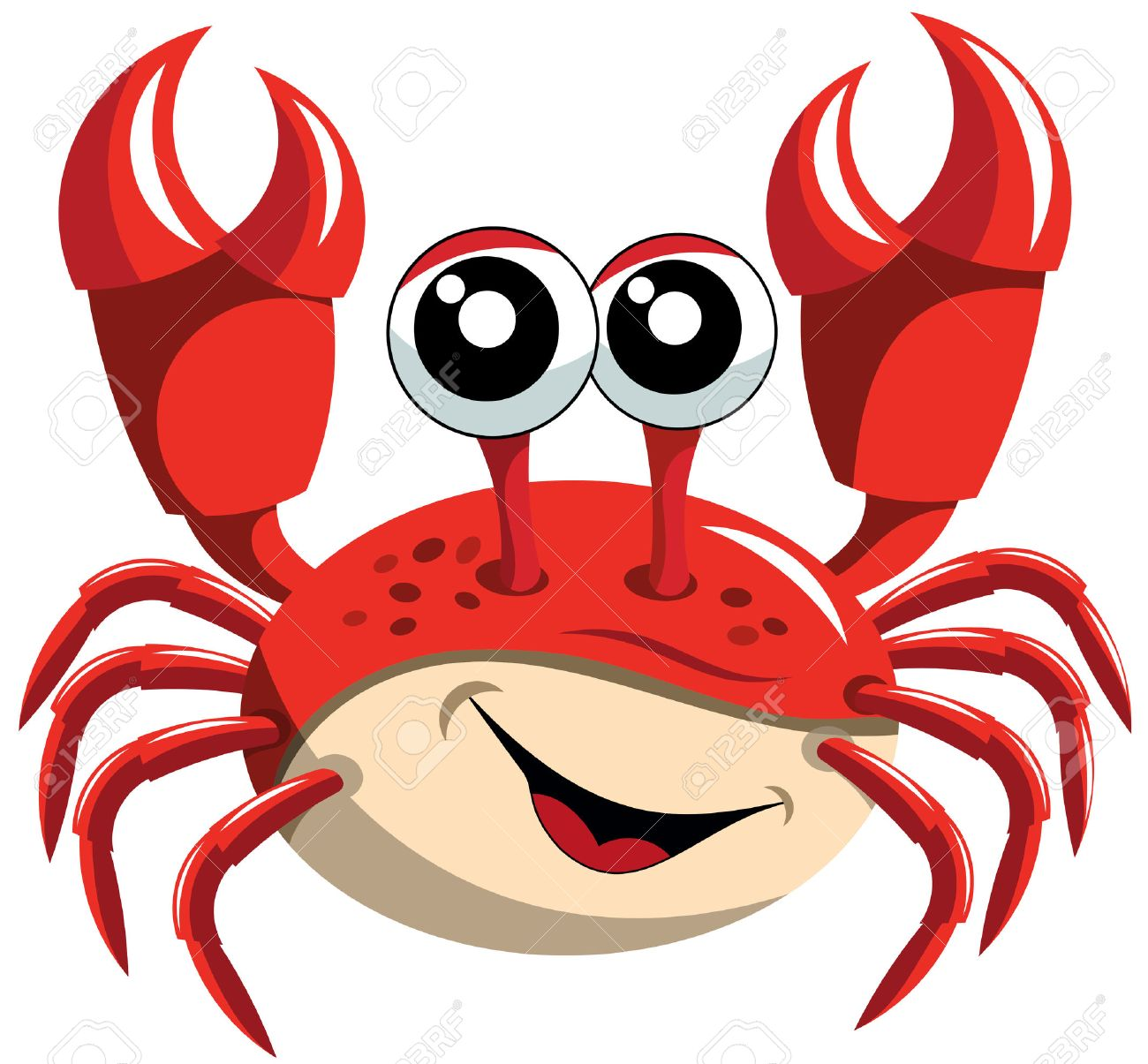 happy cartoon crab isolated royalty free cliparts vectors and