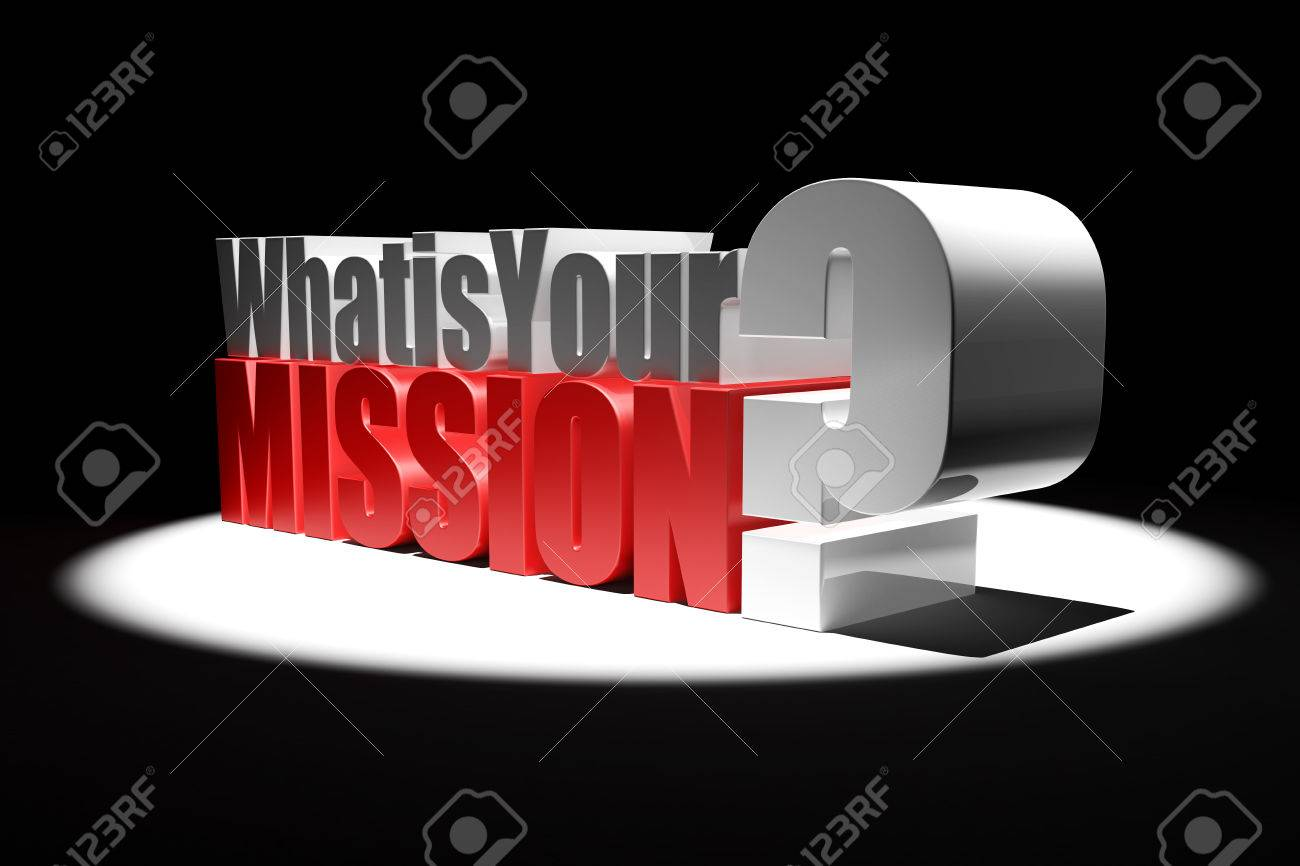 3d illustration featuring mettalic what is your mission question 3d illustration featuring mettalic what is your mission question illuminated by spotlight on black background stock buycottarizona