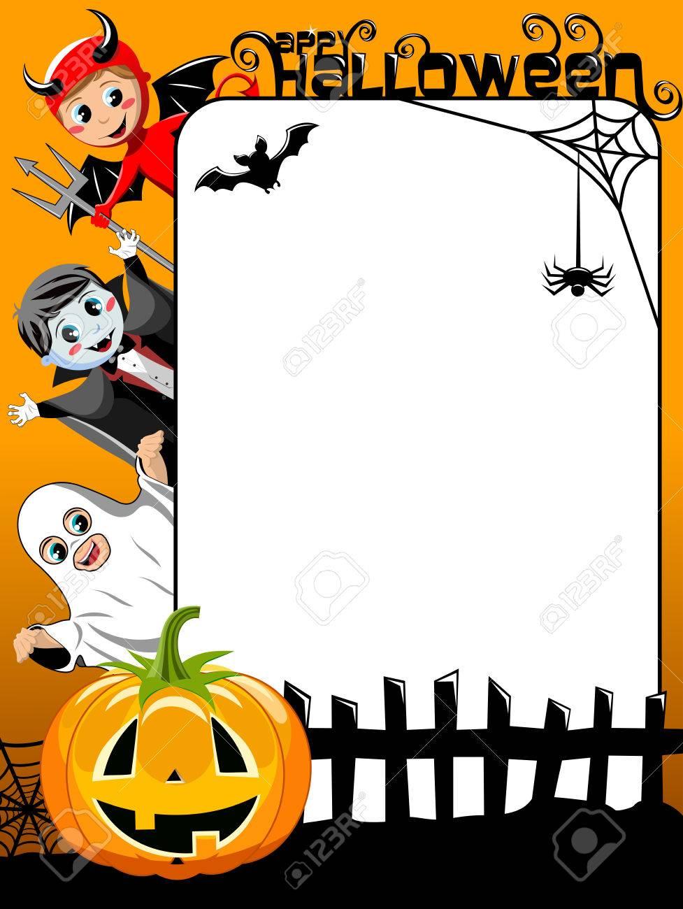 vertical halloween frame featuring kids in costume pumpkin bat