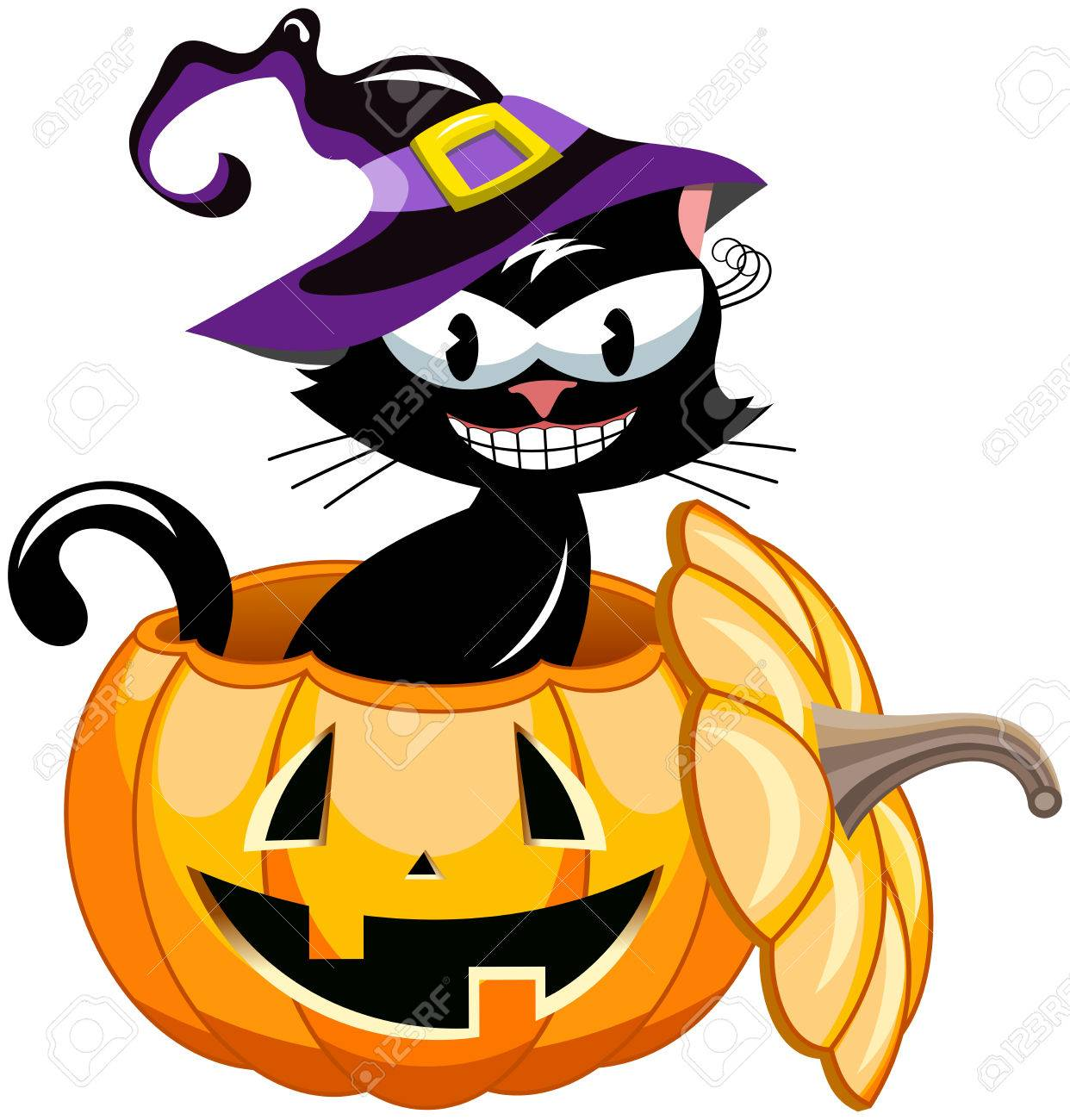 Smiling Black Cat Wearing Witch Hat Inside Halloween Pumpkin Isolated Stock Vector