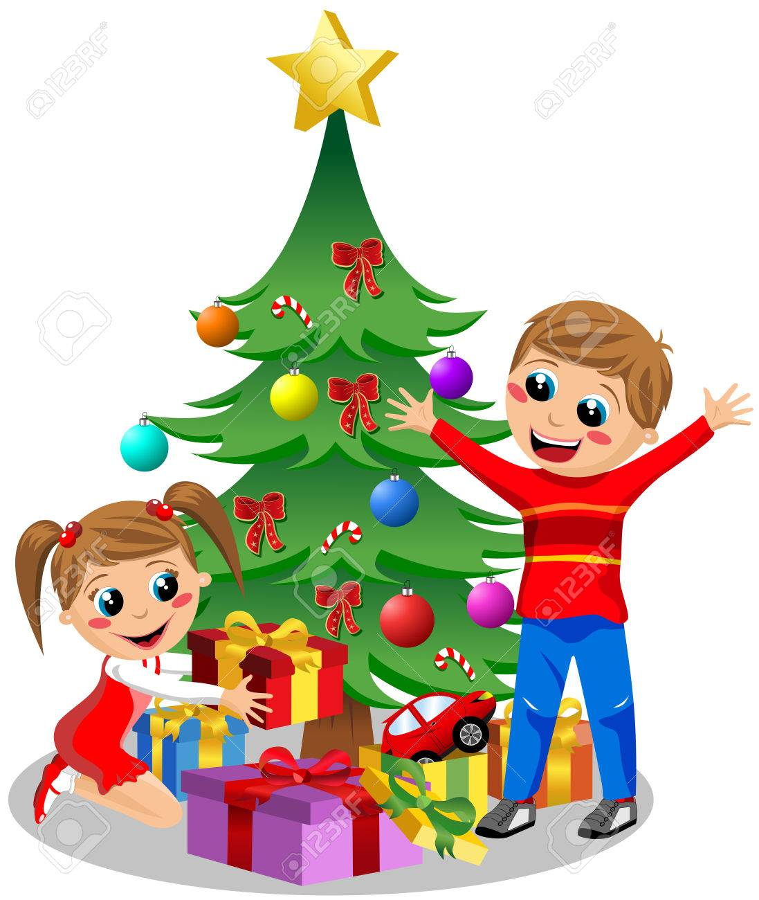Happy Kids Opening Christmas Gifts Next To Christmas Tree Isolated ...