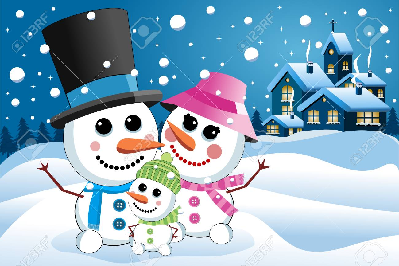 Happy Snowman Family Under Snowfall Against Nighttime Landscape Stock Vector