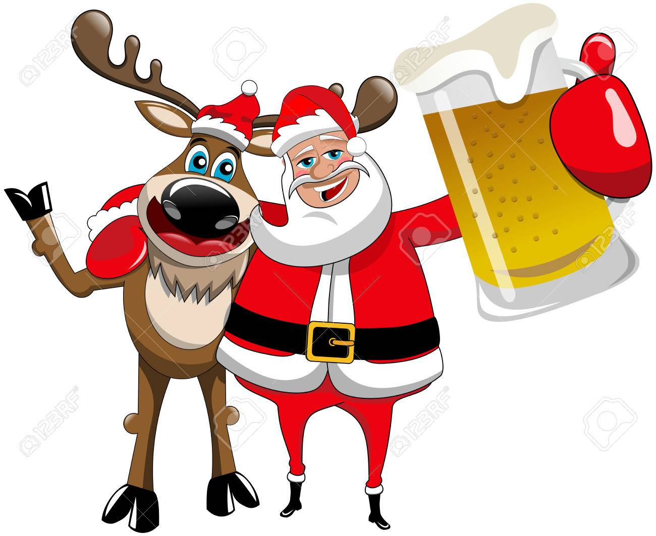 reindeer christmas santa claus hug beer mug stock vector 48536216 - Christmas Santa Reindeer