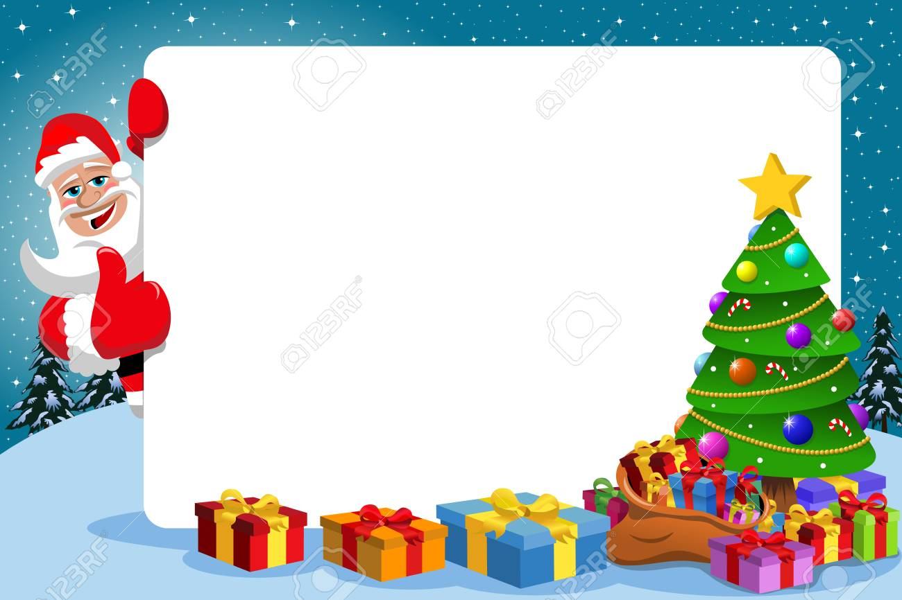 Santa Claus With Thumb Up Behind Blank Horizontal Frame With