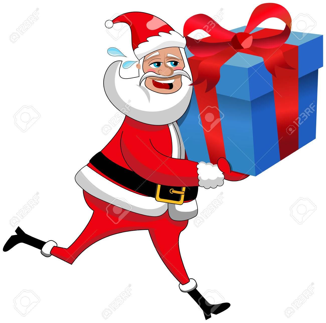 Weihnachtsmann Laufen Große Weihnachtsgeschenk Box Isoliert Zu ...
