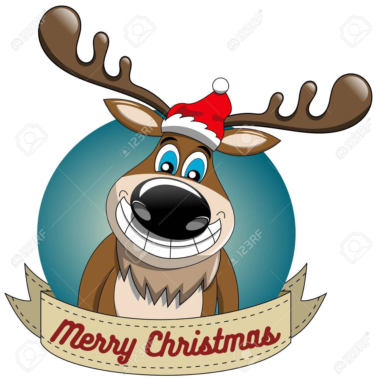 Weihnachten Funny.Funny Reindeer Cartoon Wishing Merry Christmas In Round Frame