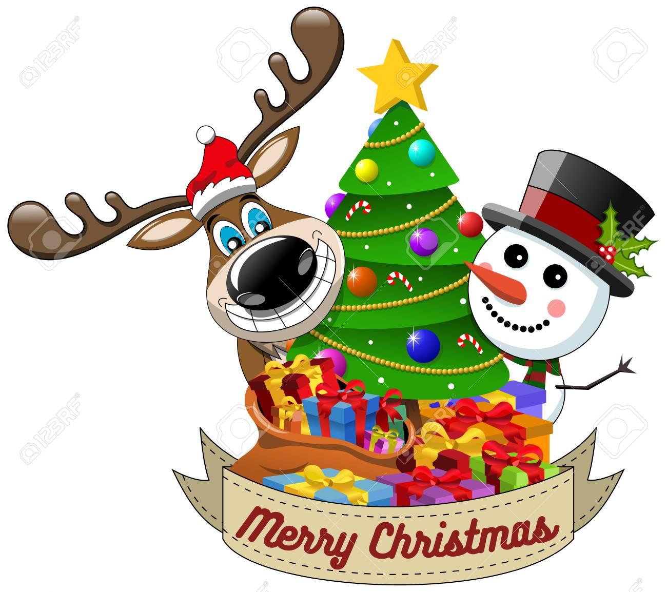 Cartoon Funny Reindeer And Snowman Wishing Merry Christmas Behind ...