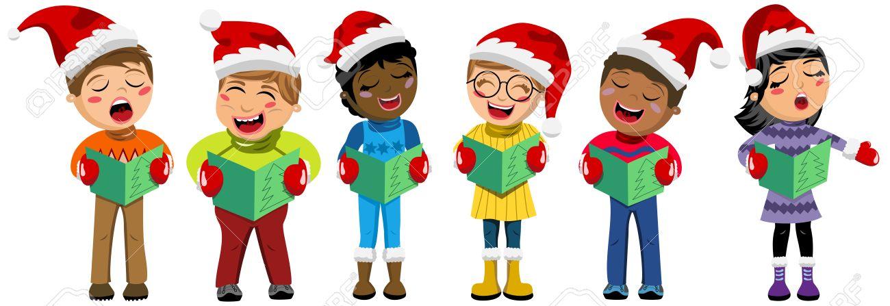 Christmas Singing Images.Multicultural Kids Wearing Xmas Hat And Singing Christmas Carol